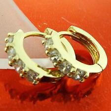 HUGGIE HOOP EARRINGS 18K YELLOW G/F GOLD LADIES DIAMOND SIMULATED DESIGN FS3A044
