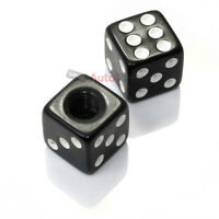 2) Custom Black Dice Tire/Wheel Stem Valve CAPS for Motorcycle Dirt Bike Bicycle