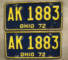 1972 OHIO LICENSE PLATE PAIR  # AK 1883