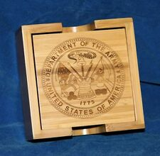 Personalized Laser Engraved Bamboo Coaster Set - Wedding or Groomsman Gift