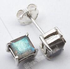 Lovely Stud Post Earrings 0.5 Cm 925 Solid Silver Blue Fire Labradorite 4-Prong