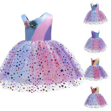 Girls Flower Sequin Dress Child Bridesmaid Party Wedding Princess Tulle Dresses