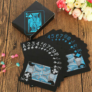 Playing Cards Waterproof Matte Black Foil Plated Poker Card Table Game Gift Toys