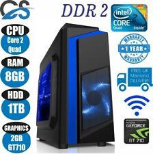 Ordinateur Bureau PC Intel Quad Core Wi-Fi & 8GB 1TB HDD & Win 10 + 2GB