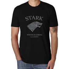 Game of Thrones House Stark Winter Is Coming Black Cotton Tops Tees Men T-Shirts