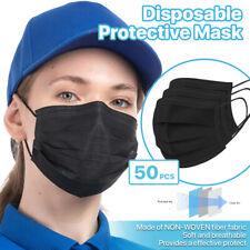 Black 50 PCS Disposable Face Mask 3-Ply Non-Medical Protective Cover Respirator