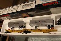 Lionel O gauge 1990 Sealand T.T.U.X. Flatcar set W/2 Sealand Trailers #16322 NIB