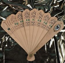 c 1870 Cut Out Wood Stick Hand Fan W Modesty / Flirting Mirror