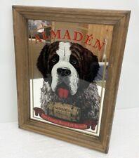 """Vtg Almaden Centennial Brandy 11x14 Beer Mirror - """"Gentle Breed� W Saint Bernard"""