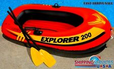 Inflatable Boat Set Two 2-Person Explorer 200 Raft Float & Oars & Paddles & Pump