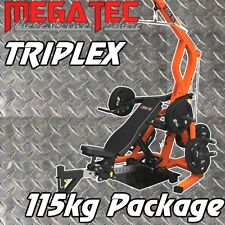 MEGATEC Triplex 115kg Package Home Gym Bench Press Squat Lat Pulldown Seated Row