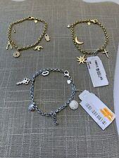 ARGENTO VIVO 18K Gold Plated Sterling Silver CZ Accented Charm Bracelets