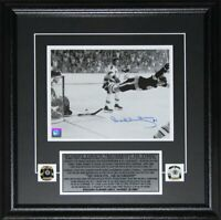 Bobby Orr Boston Bruins The Goal Black & White 8x10 Signed NHL Hockey Frame