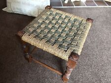 SEAGRASS Footstool Stool Seat   Traditional Vintage Wood Ropework Woven
