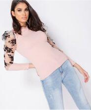 Sheer Floral Print Organza Sleeve High Neck Top
