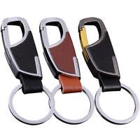 Men Keyring Genuine Leather Metal Keychain Ring Car Key Buckle Creative Sports