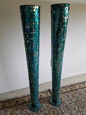 Pair of TALL MOSAIC TURQUOISE VASE