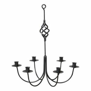 Black Wrought Iron new Hanging 6 arm Candle Chandelier
