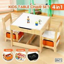 Kidbot 3PCS Kids Table Chair Set Play Toy Box Storage Activity Chalkboard Desk