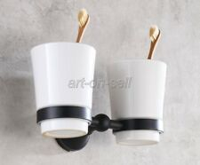 Black Oil Rubbed Brass Wall Mounted Bath Toothbrush Holder With Two Cups Hba859