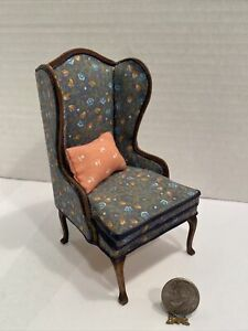Vintage Artisan RLM 86' BEAUTY Floral Wingback Chair Dollhouse Miniature 1:12