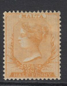 1863 Malta ½d Bright Orange yellow  Perforation 14 SG12 CAT £275 - LHM