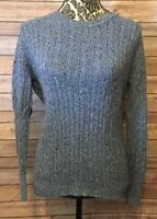 Karen Scott Women's Marled  Blue Cable Knit Sweater Crew Neck Size M