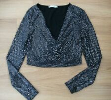 Pull & Bear ladies black & silver sparkly top Size Large 12-14 immaculate