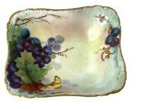 Vintage H & C L France Hand Painted Porcelain Bowl Grape Design Golden Rim