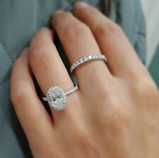 Oval Diamond 14k White Gold Over Women's Ring Set Anniversary Bride Wedding Band