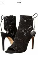 Dolce Vita Harmon Black Suede Cutout Peep Toe Lace Up Stiletto Sandals 7.5 M NIB