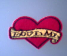 Love Me Red Heart Iron On / Sew On Patch 7cm x 5.7cm red/yellow / black NEW