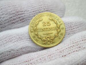 Costa Rica 25 Centesimos 1944 brass circulated