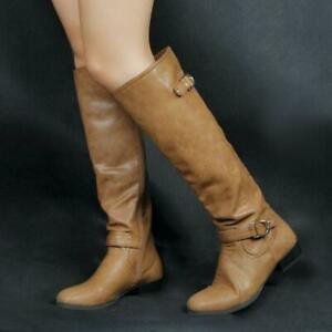 US4-20 Womens Knee High Boots Round Toe Square Low Heel Boots Brown Party Shoes