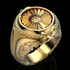 Ring Engagement jewelry Gift Size 12 Men's Vintage style Gold Plated Round punk