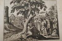 GRAVURE SUR CUIVRE CONVERSION DE ZACHEE-BIBLE 1670 LEMAISTRE DE SACY (B218)
