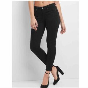 $99 Gap Mid Rise SCULPT True Skinny Jeans, NWT, 29 Regular/Size 8, Ever Black