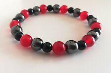Red ruby black onyx Hematite bracelet bead gemstone blood stone July birthstone