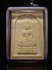 ANTIQUE CLAY THAI AMULET SAKYAMUNI BUDDHA TALISMAN w/ Pendant Case. Cira:1900's