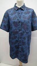 Blue Short Sleeve Denim Floral Mens Fitted Shirt size Large from Burtons