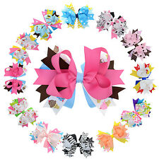 "4.5"" Boutique Multi-layer Stacked Hair Bows with Clip for Girls Toddlers Kids"