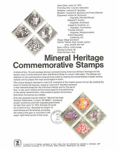 #7411 10c Mineral Heritage Stamps #1538-41Souvenir Page