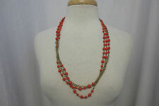 j Crew Red Mini Bead & Brass Link Double Necklace Multi Strand