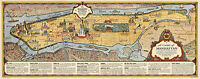 Midcentury Pictorial Chart Map of Manhattan New York Vintage Historic Art Poster