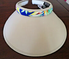 NATURAL COLOR SUN VISOR FLORAL  TRIM  5 INCH BRIM IN THE MIDDLE NWT SMART
