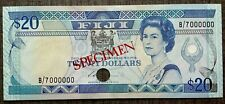 Fiji, 20 dollars, Specimen, ND (1987), Pick 88as, QEII, Signature: S Siwatibau