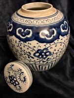 Chinese Vintage Porcelain Blue & White Ginger Jar Urn Vase Pot Tea Caddy 9""