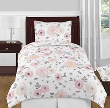 Sweet Jojo Shabby Chic Blush Pink Grey Watercolor Floral Girls Twin Bedding Set