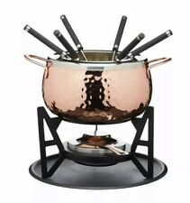 Artesa Hammered Copper Finish six, person Fondue Set, Stainless steel, CLEARANCE