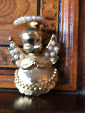 Vintage Signed Dodds Christmas Angel Brooch Spilla Angelo di Natale Faux Pearls